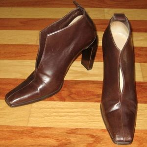 90s GUCCI ANKLE BOOTS BROWN LEATHER HIGH HEEL 8.5